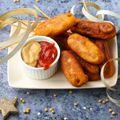 Szilveszteri sajtos Corn dog falatkák