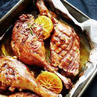 Narancsos-mézes sült csirkecombok