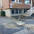 Hunyadi utcai járdafelújítás októberben