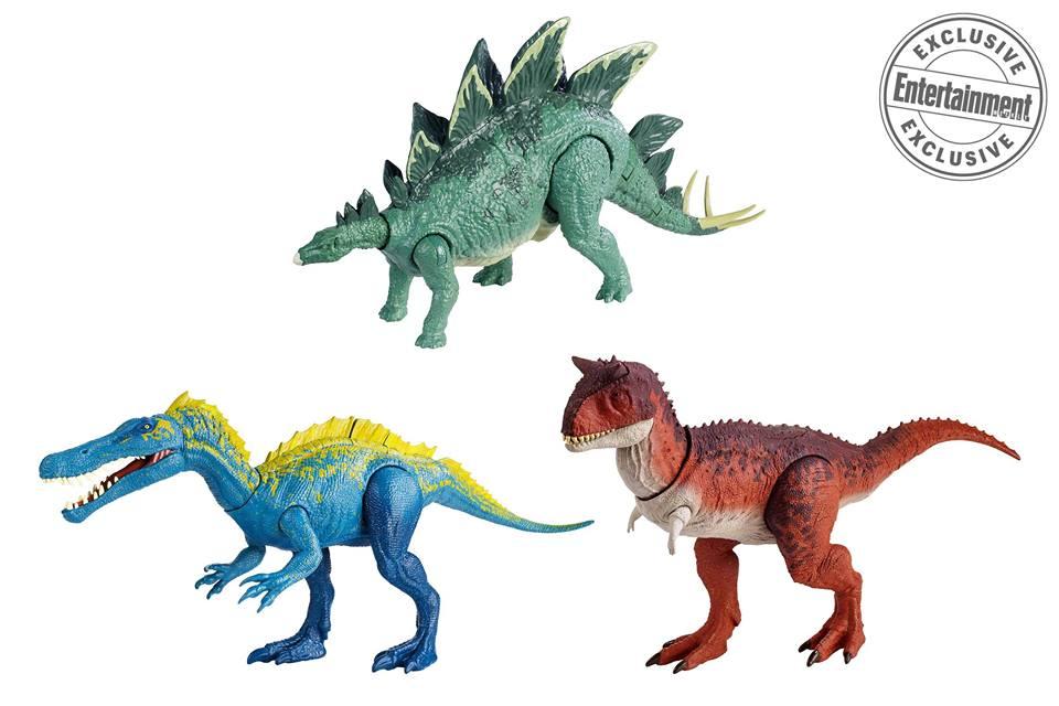 A Stegosaurus, a Suchomimus és a Ceratosaurus is végre jobb minőségben szemügyre vehető, az Action Attack elnevezés alatt és a két ragadozó kialakítása bámulatos, főleg a Carnotaurus, amely nagyon pontosan tükrözi filmbéli megjelenését. 19.99 dolláros áron lesznek elérhetőek.