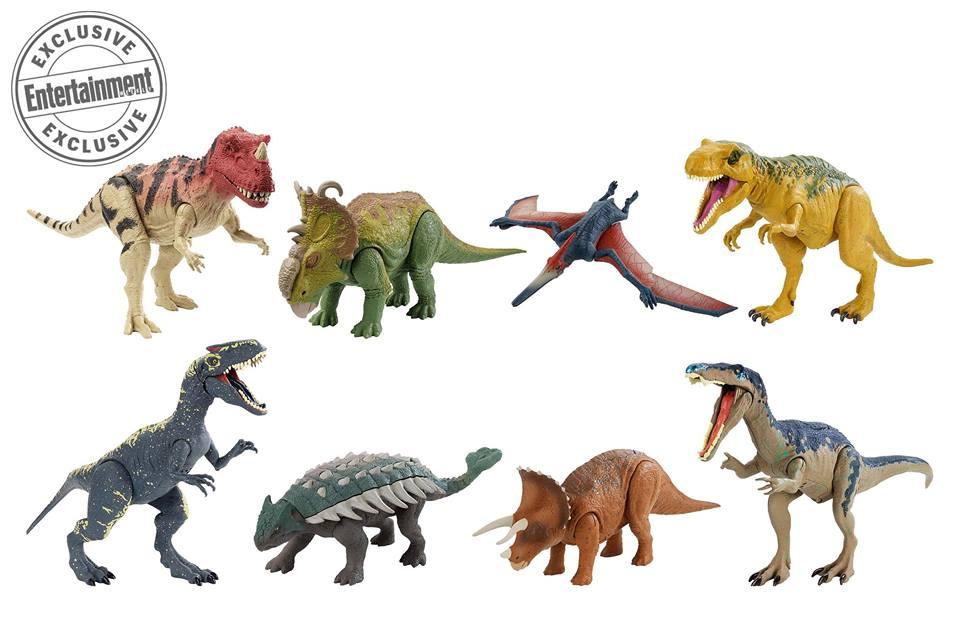 Ebben a csoportban, amelyben a Roarvories gyűjtőnév alatt jelennek meg, rögtön egy régi ismerőst köszönhetünk, a Ceratosaurus-t. Őt a harmadik részben láthattuk pár pillanatig, de a figurája pontosan úgy is néz ki, mint a filmben. Mellette a Pachyrhinosaurus, amely szintén csodásan fest, a Pteranodon, az Ankylosaurus és a Triceratops-szot is most láthatjuk először a Mattel kínálatából. Valamennyi dinoszaurusz hangot ad ki, és az adott faj mozgását is. A figurák egyenkénti ára 14.99 dollár.