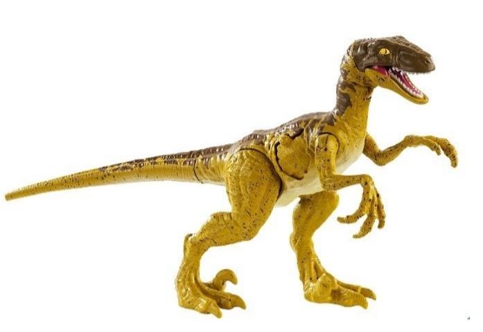 Ez a barna-sárga Velociraptor változat egy főhajtás lehet Michael Chrichton műve előtt, hiszen a regényben ilyennek 'festette le' őket a szerző