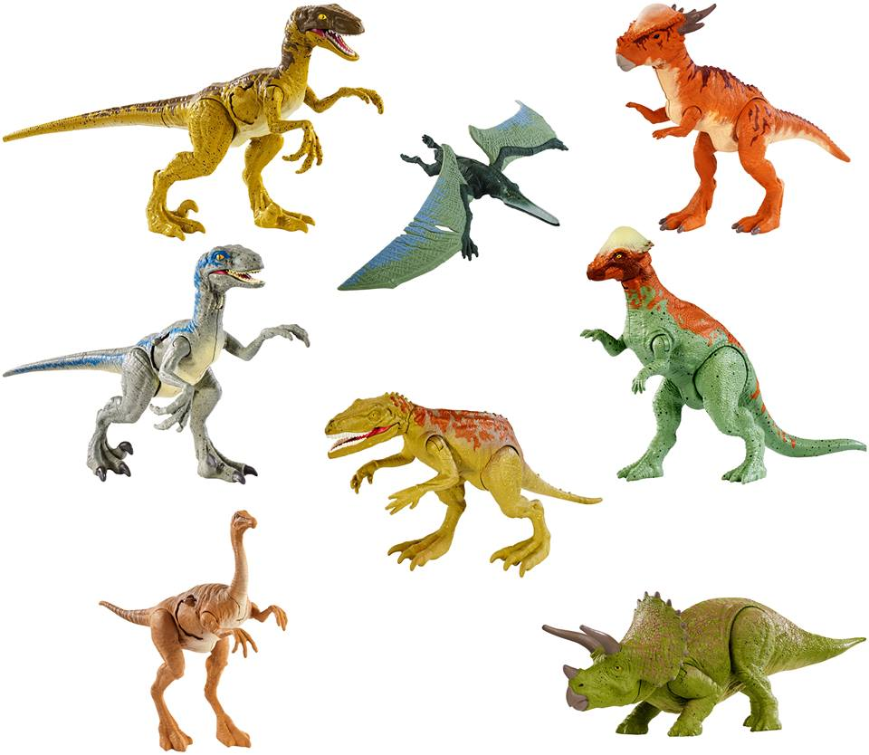 A sérült állatok első hullámában érkező dinoszauruszok többnyire az Attack széria átfestett figurái