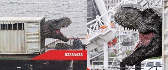 A Temzén leúsztatott T. rex látványa nem mindennapi látványt nyújtott London szívében