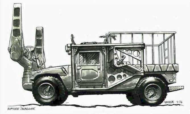Látványterv a dinó-befogó Hummer-ről