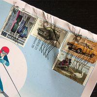 Igazi levél, igazi (német) bélyegekkel! Rajtuk egy designer, egy természetfotós és két vintage autó.