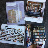 Most találtam: régi magazinokból kitépett lapok, könyvespolcokkal. Furcsa dolgokat gyűjtök