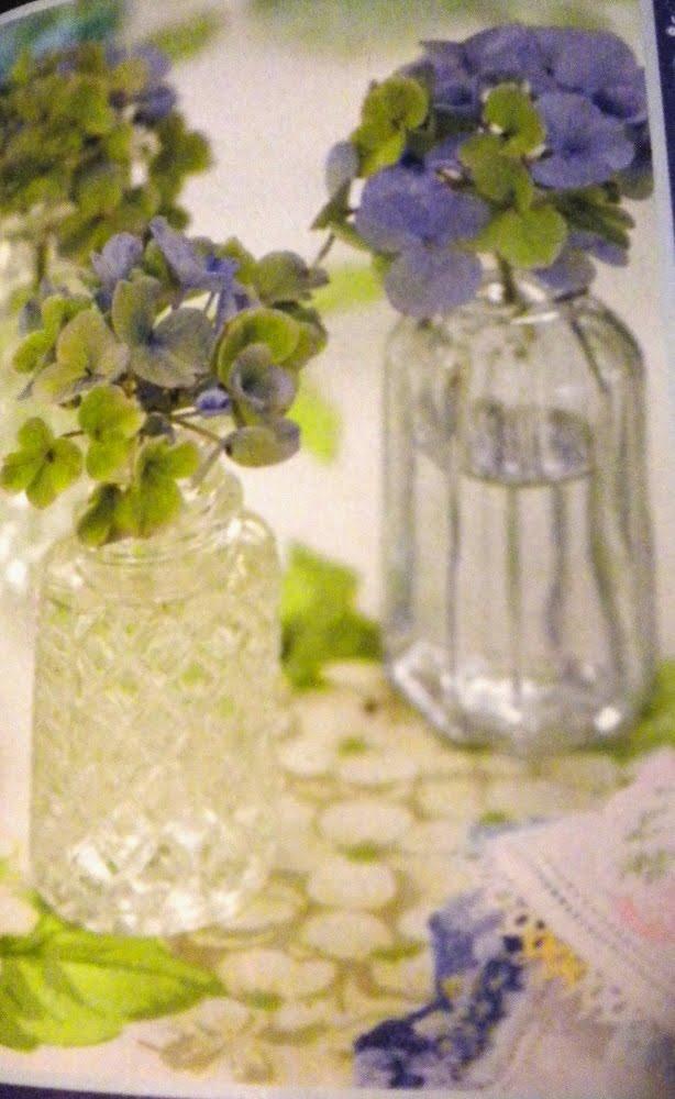 Hydrangeas in glass jars.jpg