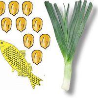 Hal póréhagymával, kukoricával
