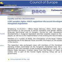 Az Európa Tanács jelentéstevőjének látogatása