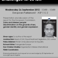 Seminar in the EP: Trans and intersex people – Challenges for EU law