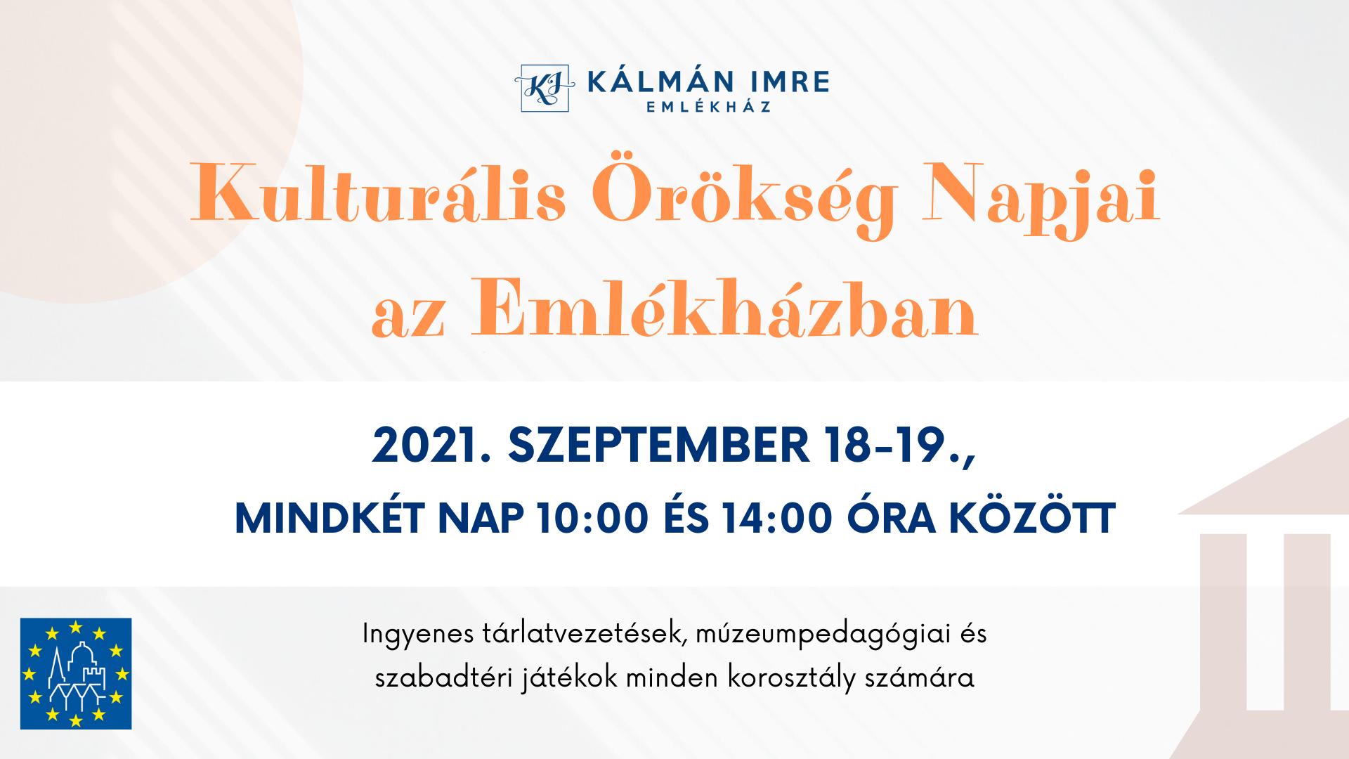 Kulturális Örökség Napjai az Emlékházban - 2021. szeptember 18-19.