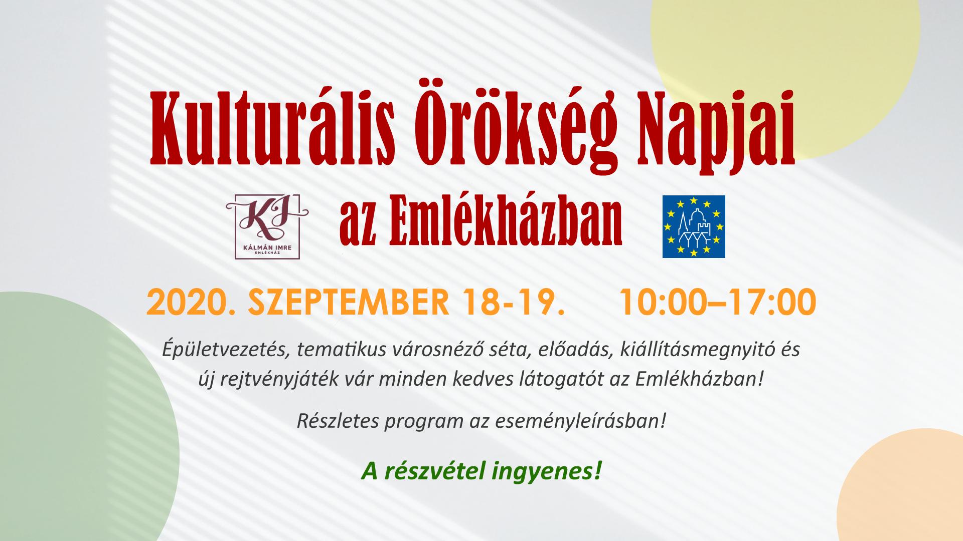 2020. szeptember 18-19. – Kulturális Örökség Napjai az Emlékházban