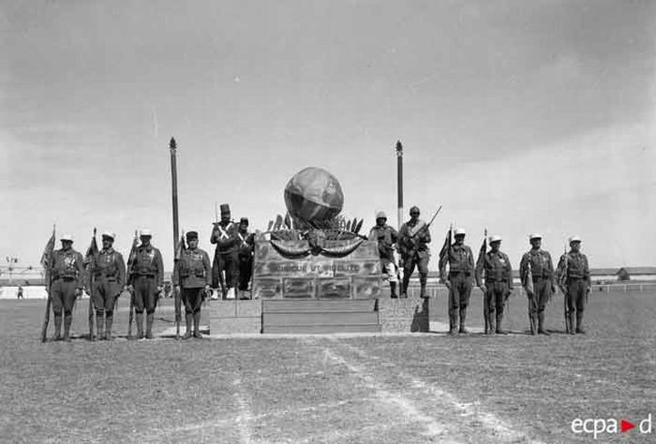 Resize of Legionnaires of the 6e REI with their own War Memorial, celebrating Camerone Day at Homs, Syria in April 1940.jpg