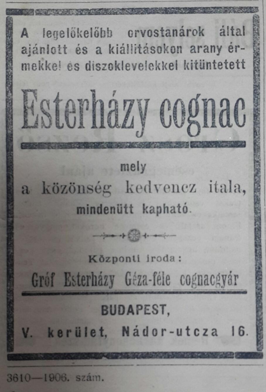eszterhazy konyak Ungvári Közlöny