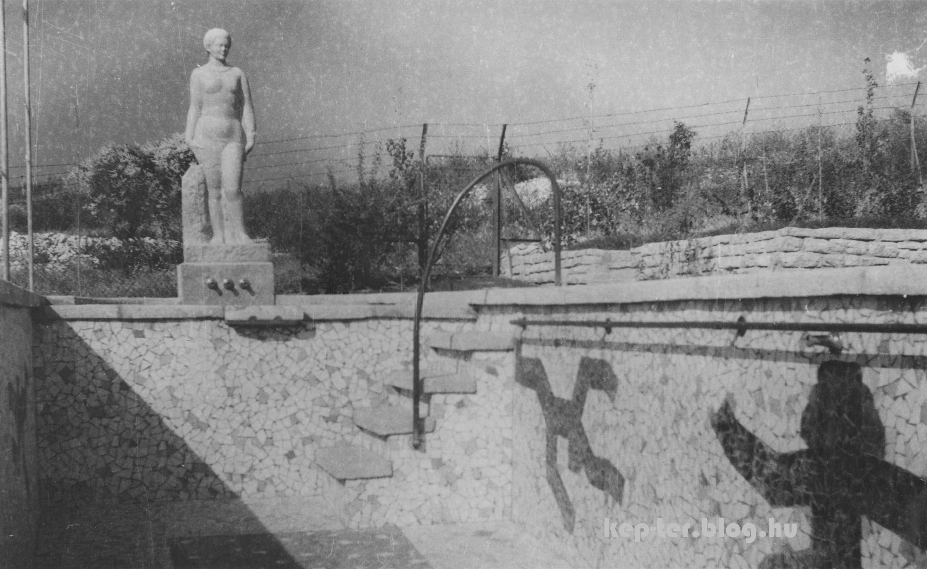 A medence 1945 után épült, amikor a házat a világháborús pusztítás után újjáépítették. A falát borító mozaikokat a ház tulajdonosának testvére, Járitz Józsa tervezte, aki festőművész és grafikus volt.