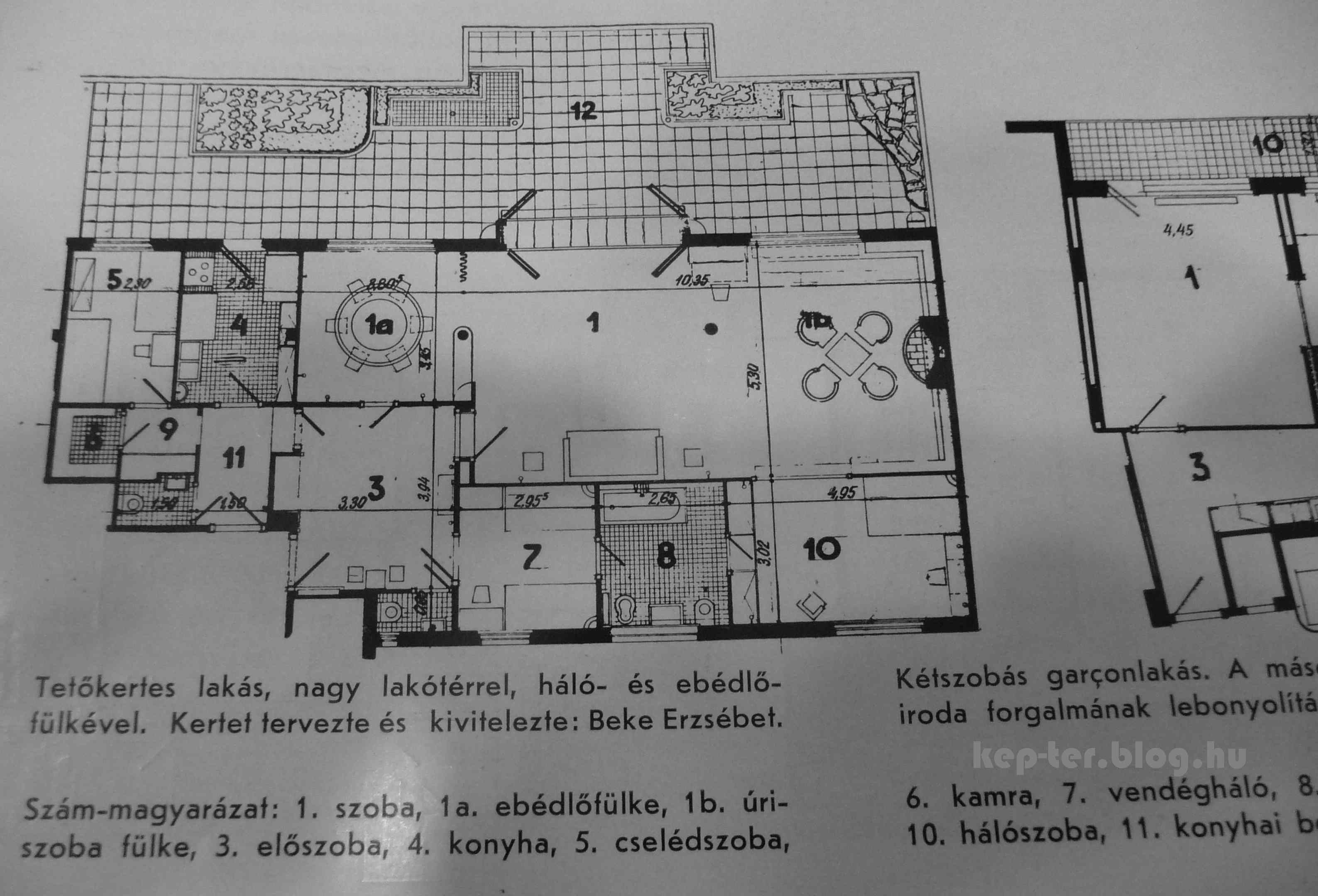 Forrás: Tér és Forma<br />1. szoba, 1a. ebédlőfülke, 1b. úriszobafülke, 3. előszoba, 4. konyha, 5. cselédszoba, 6. kamra, 7. vendégháló, 8. fürdőszoba, 9. tálaló, 10. hálószoba, 11. konyhai bejárat