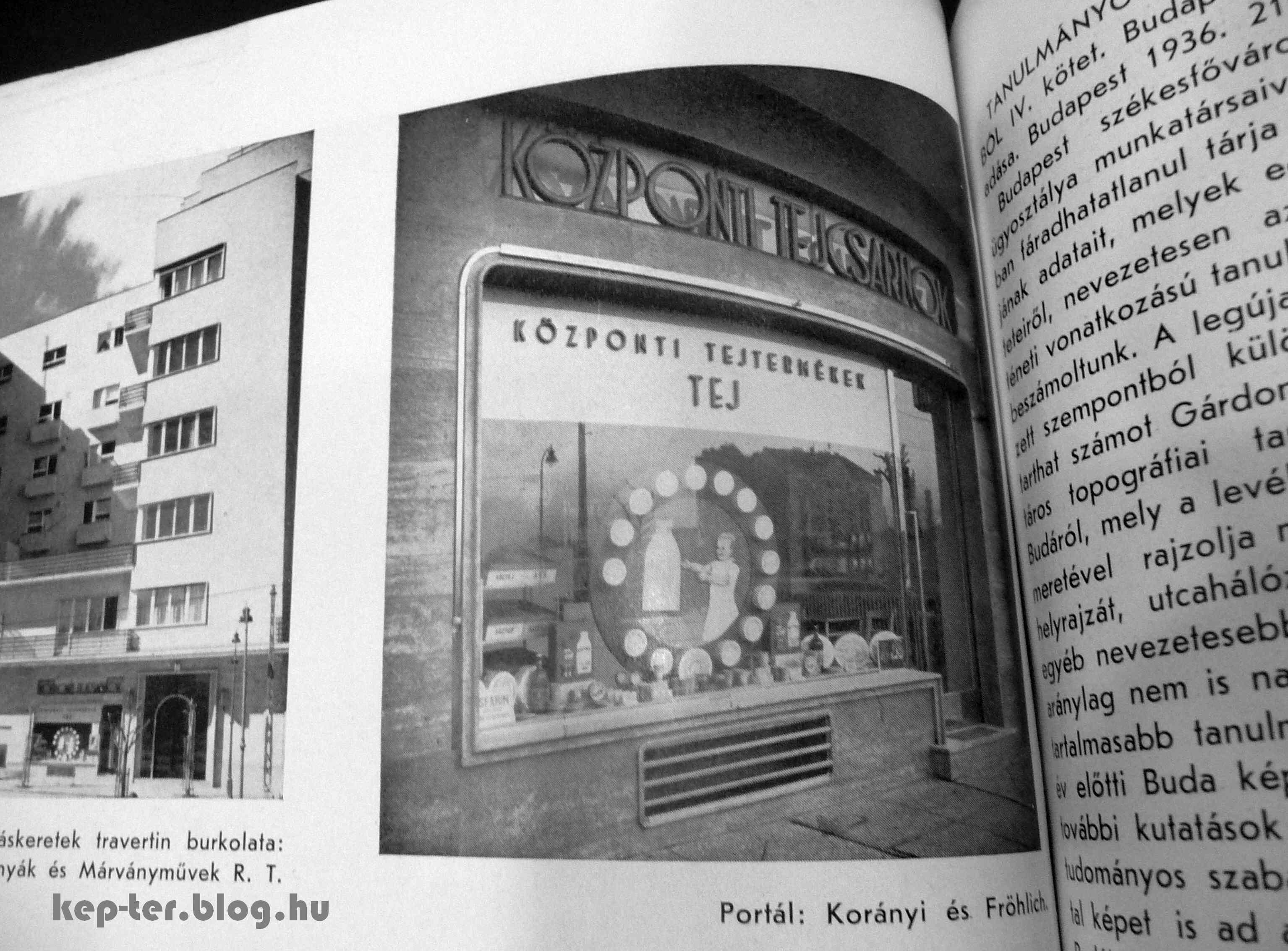 Tejcsarnok az épület földszintjén. <br />Forrás: Tér és forma, 1937.