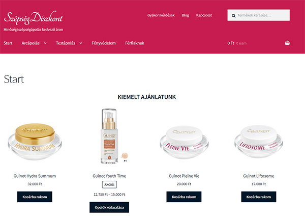 Kozmetikai webáruház