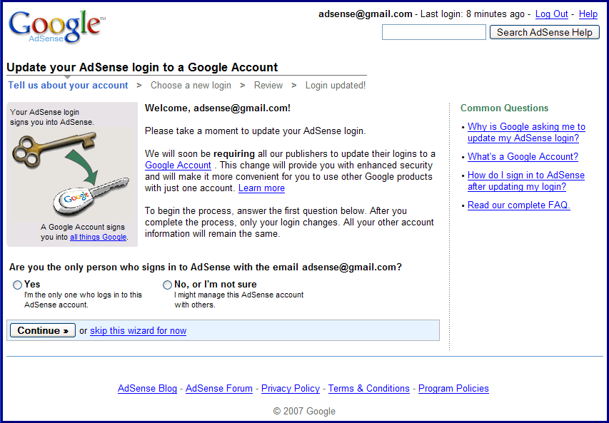 Adsense és Google Account