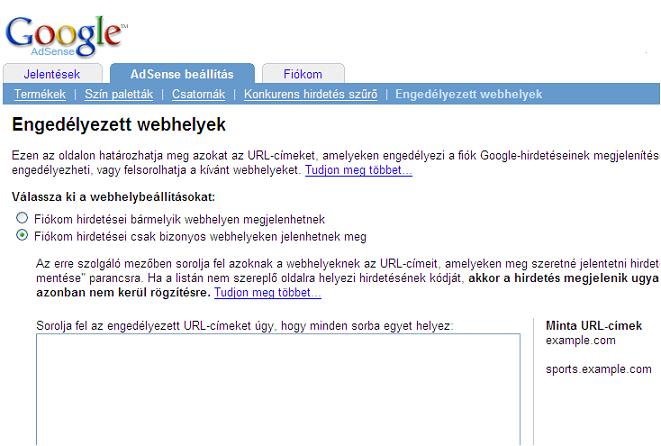 AdSense - Engedélyezett webhelyek