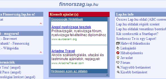 AdSense hirdetés lap.hu oldalon