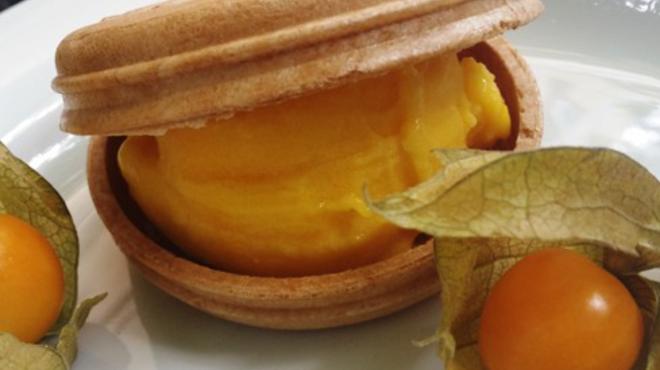 Macaron glace és citrom sorbet