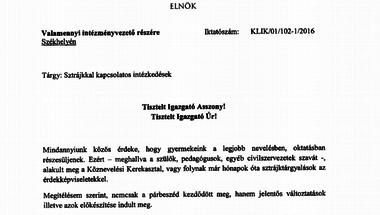 A KLIK vezetője levélben tájékoztatta az iskolaigazgatókat arról, hogy a Fidesznek van igaza
