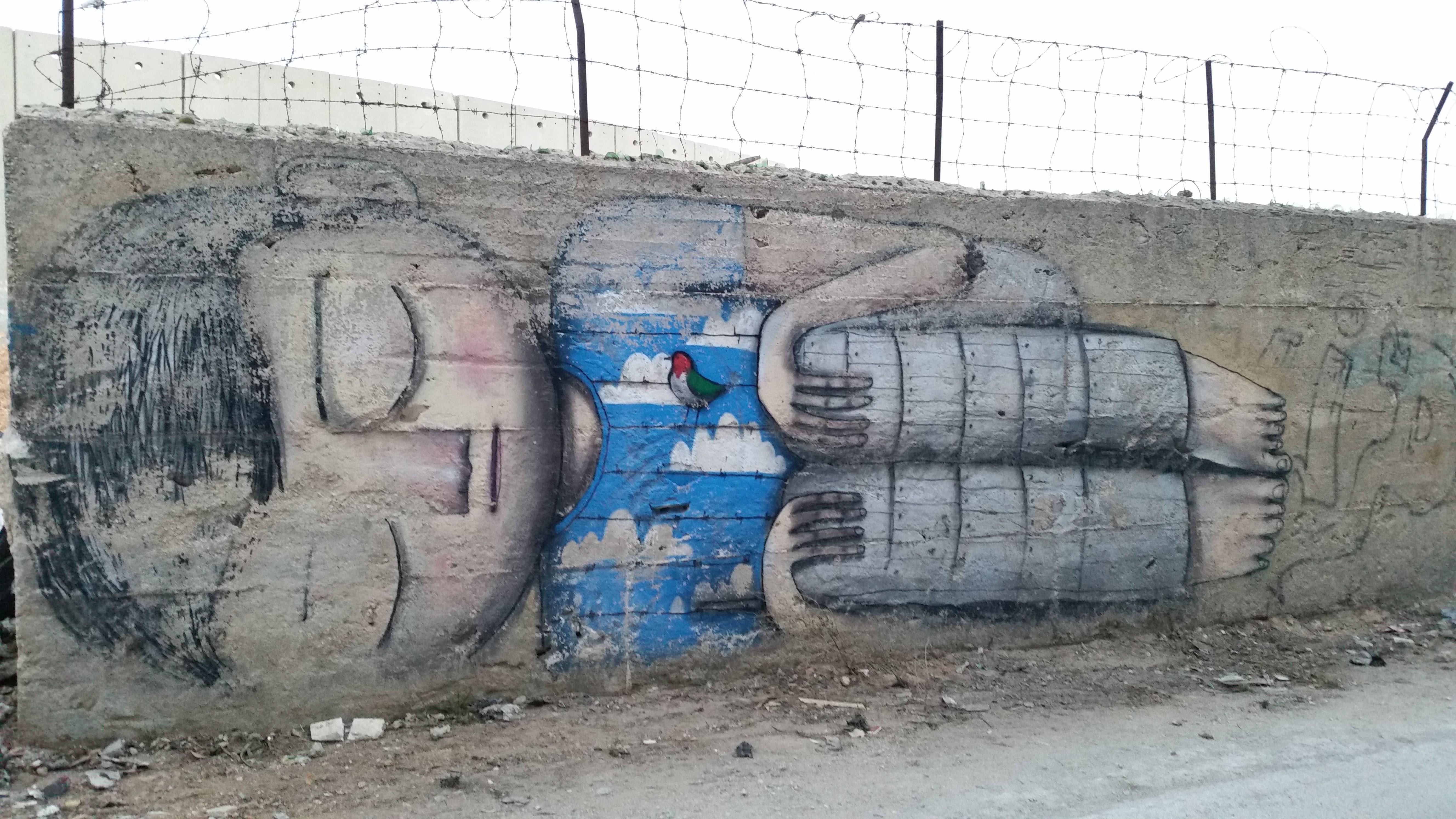 Festmény a betlehemi falnál.<br />