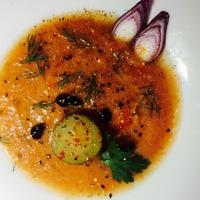 Kovászos uborka-gazpacho sárgadinnyével