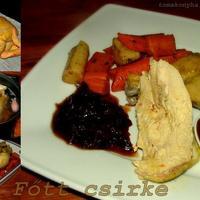 Fűszeres alaplében főtt csirke, vajon pirított zöldségekkel, chutneyval és chilis szilvaszósszal
