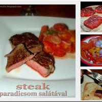 Steak marharostélyosból, paradicsomsalátával
