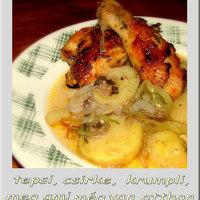 Tepsi, csirke, krumpli, meg ami még van otthon...