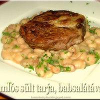 Omlós sertéstarja meleg babsalátával