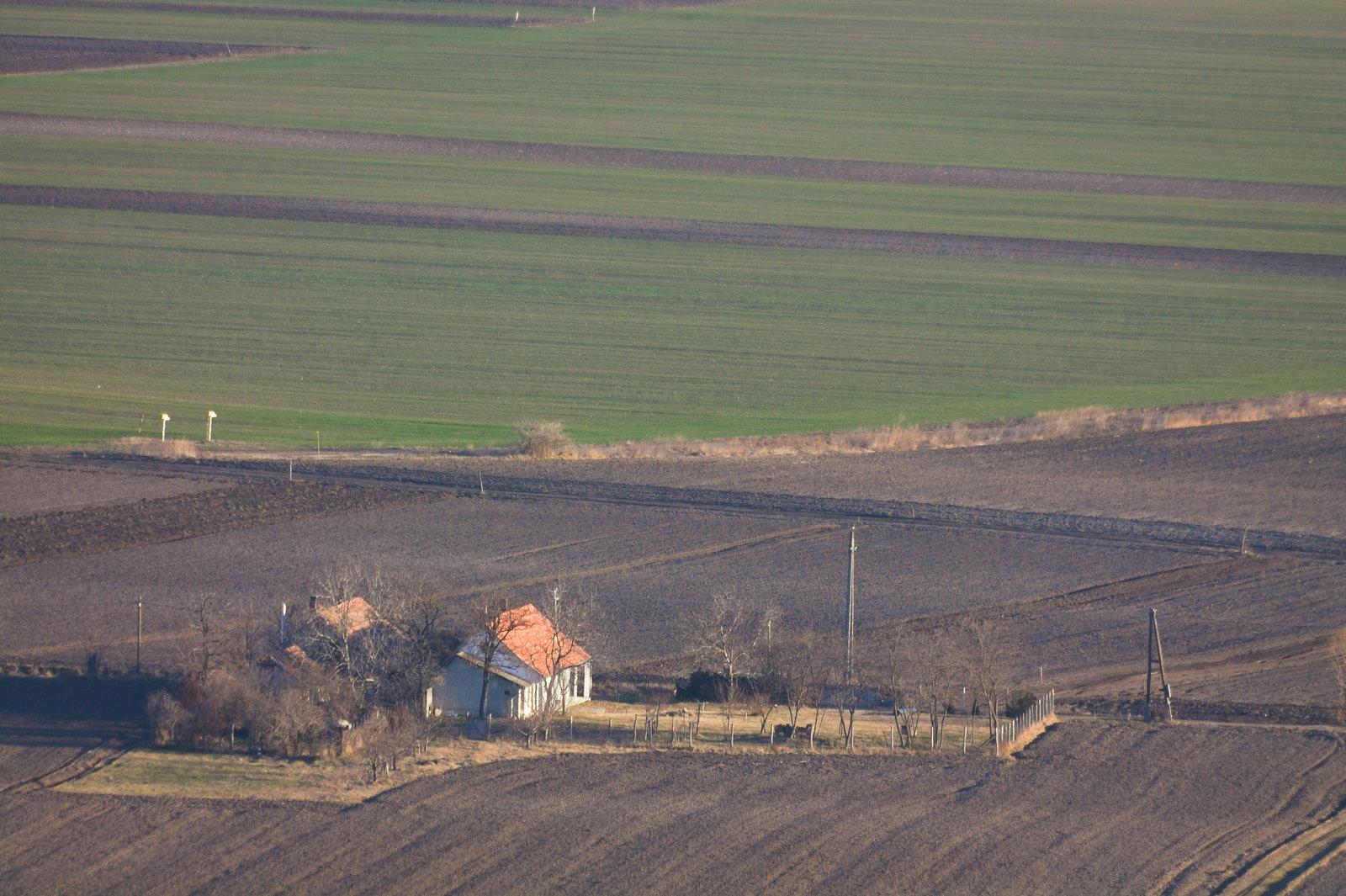 Kis házak a földek mellett...