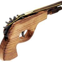 Befőttes gumit, gumigyűrűt kilövő pisztoly, fapisztoly, játékpisztoly