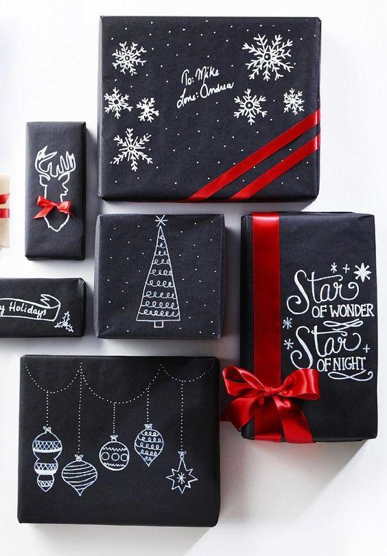 Modern és trendi!<br />Fekete csomagolópapír, fehér ceruza vagy filctoll és némi kézügyesség szükséges ehhez a csomagoláshoz!