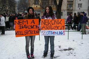 Tüntetés a Rákóczi iskola bezárása ellen - 2011.02.03.