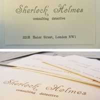 Sherlock Holmes 221B Baker Street - consulting detective business card