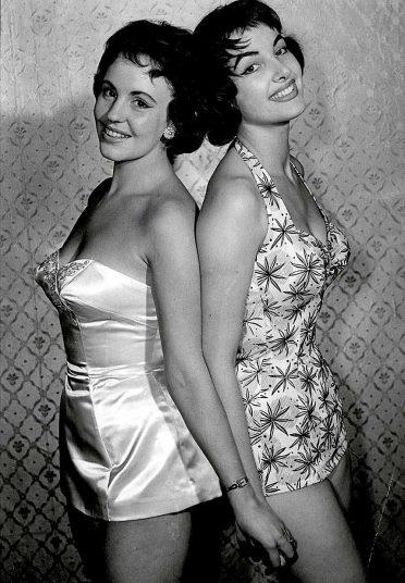 1956 Miss Austria Margaret Scherza (left) poses with eventual winner Miss Germany Petre Schurmann.jpg