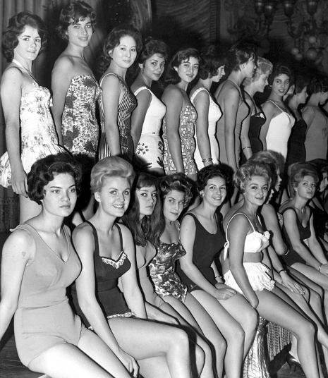 1959 Long before Lycra was introduced to the fashion world, the contestants line up in their swimwear.jpg