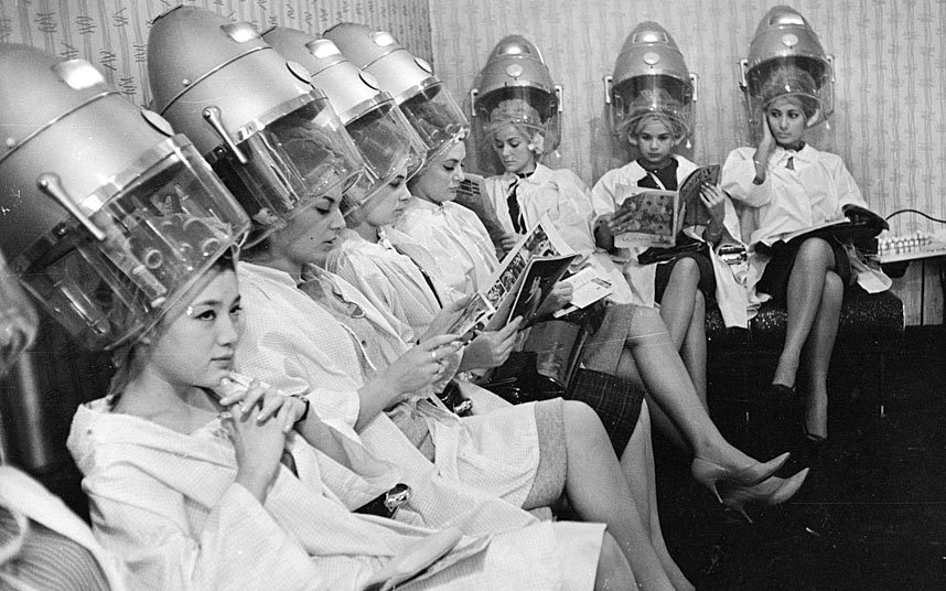 1963 Miss World contestants visit a hairdresser before the big event.jpg