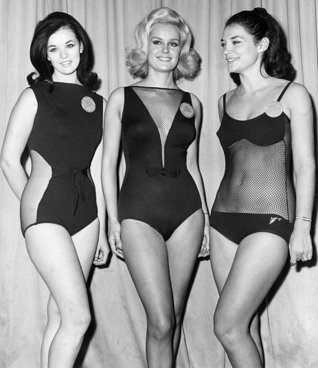 1965 left to right Miss Canada Carol Ann Tidey, Miss United Kingdom, Lesley Langley and Miss Greece, Maria Gueka all pose in their swimwear.jpg