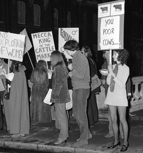 1970 Feminists protest outside the Royal Albert Hall as the first contest of the Seventies gets underway.jpg