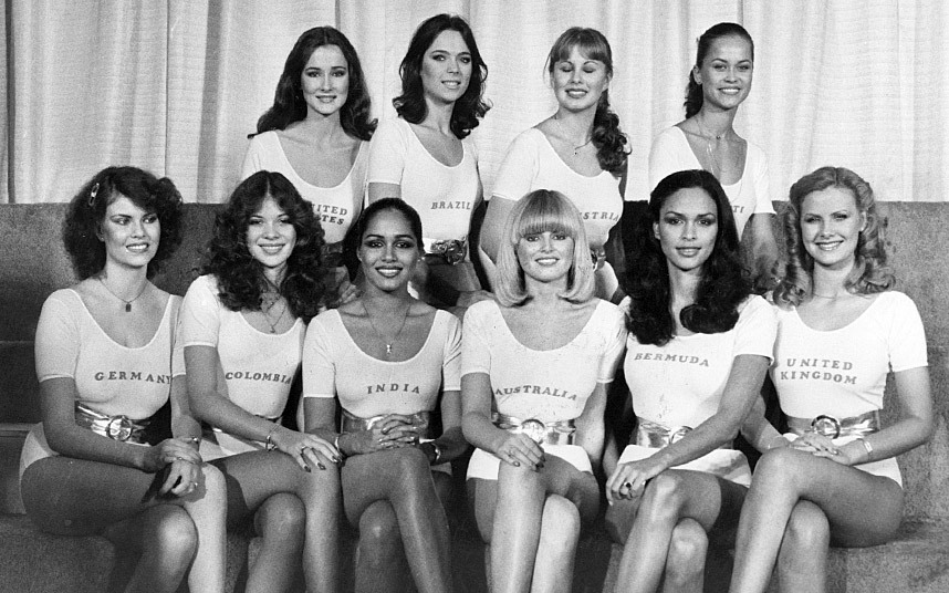 1979 The favourite contestants for the end of seventies title received their own photocall in personalised leotards.jpg