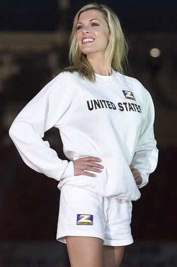 2000 Miss United States Angelique Breaux, 22, poses in a plain sweatshirt and shorts at London's Millennium Dome.jpg