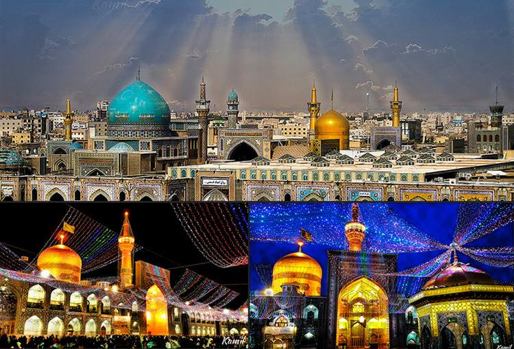 Mashadban van a világ legnagyobb mecsetkomplexuma, amelyben a 8. siíta imám Ali Reza szentélye és a híres abbaszida kalifa, az 1001 éjszakai meséiben is szereplő, és a középkori világ tudományos központját, a bagdadi Bölcsesség Házát alapító Harun al-Rasid kalifa sírja is van. A mecsetkomplexumot pedig a mai napig a világ egyik legrégibb vallási alapítványa, az 1200 éves Astan-e Quds vallási alapítvány (Bonyad) működteti. A rengeteg színarany borítás, meg a tükörüveg mozaikcsempe, virágminta díszítésű mozaikcsempék, és kék csempe hatalmas mennyisígű, nagyon gazdagon és aprólékosan kidolgozott, végtelen nyugalmat és harmóniát árasztó művészi alkalmazása már egy másik világba röpíti az embert. Mintha a Paradicsom egyik palotájában járnánk (vagy legalábbi ilyennek képzeljük el gyarló földi emberi tudatunkkal a paradicsomi palotákat)