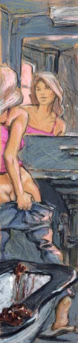 Jaroslav Schwarzstein (Ярослав Шварцштейн) egyik illusztrációja Vlagyimir Szorokin Лошадиный суп (Lóleves) című szövegéhez