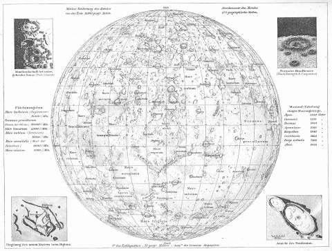 Map of the Moon, Andrees Allgemeiner Handatlas, 1st Edition, Leipzig (Germany) 1881, Page 4