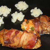 Baconös-zöldséges csirketekercs